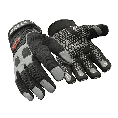 RefrigiWear Men's Insulated Fleece Lined HiVis Super Grip Performance Gloves Reflective with Silicone Grip Dots (Black, Large)