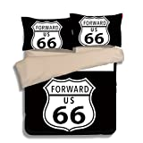 FAITOVE Route 66 Black Microfiber 3pc 104''x90'' Bedding Quilt Duvet Cover Sets 2 Pillow Cases King Size