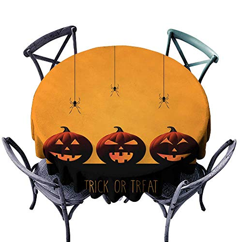 Onefzc Resistant Table Cover Halloween Background with Smiling Pumpkins on Orange Background Trick or Treat Stain Resistant, Washable 67
