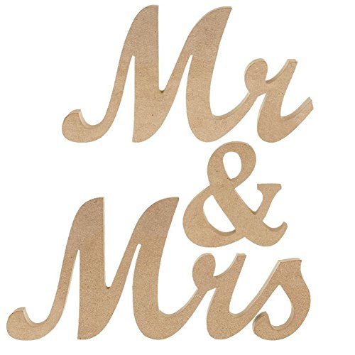 Ocamo Vintage Style Mr & Mrs Wooden Letters for Wedding Decoration DIY Decoration by Ocamo