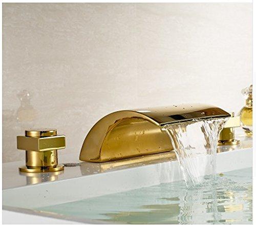 Mixers Basin Mixer (Gowe Gold Brass Widespread Bathtub Faucet 3 Holes Doubel Handles Basin Mixer Tap)