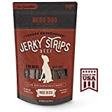 "Gourmet Jerky Dog Treats by Nebo Dog - MADE IN USA with American Beef. Slow Smoked & Tender 6"" Jerky Strips. No Artificial Fillers, Wheat, Corn or Soy 