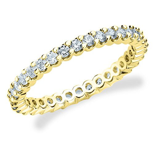 18K Yellow Gold Diamond Basket Prong Eternity Ring (.50 cttw, F-G Color, VVS1-VVS2 Clarity) Size 13