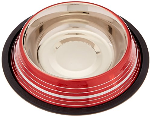 Stainless Steel Stripe Ring - Indipets 800205 16 oz Colored Silver/Red Stripe Non Tip Dishes