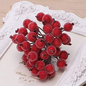 GETMORE7 Artificial Frosted Berries, Pack of 40pcs Mini Christmas Frosted Fruit Berry Holly Artificial Flower Decor Fruit Simulation Christmas Trees DIY Accessories 45