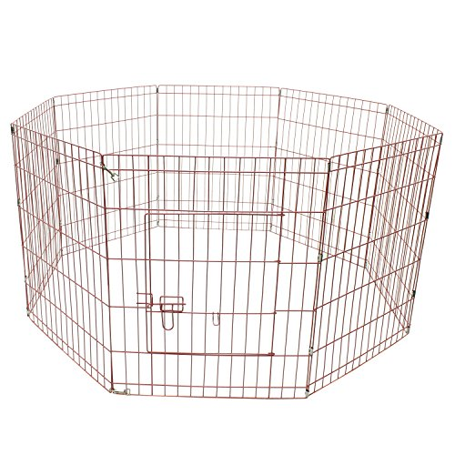 ALEKO SDK-24P Heavy Duty Pet Playpen Dog Kennel Exercise Cage Fence 8 Panel 24 x 24 Inches Pink