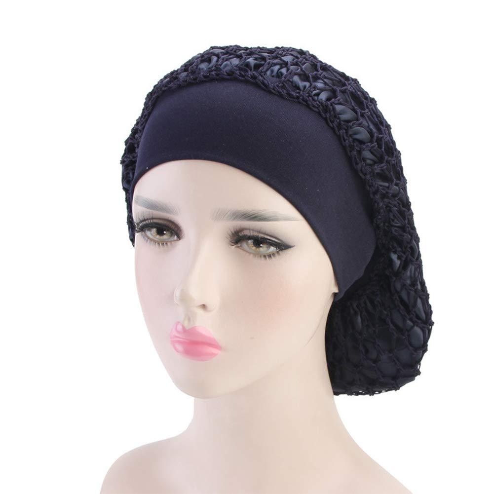 Gracmyron Net Night Sleep Cap Hat Crocheted Slouchy Bonnet,Wide Band,Double Layered,Snood Hair