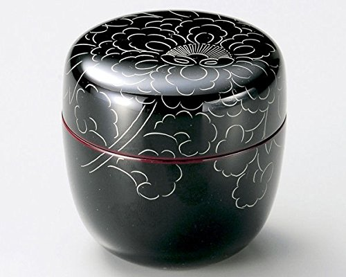 Tea Caddy Japanese Natsume Echizen Urushi Lacquer Matcha Container Peony Pattern Tame by Echizen Urushi