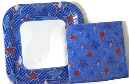 Red-White-Blue-Stars-Patriotic-Party-Bundle-2-Items-Including-14-Plates-20-Napkins