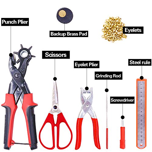 Glarks Heavy Duty Adjustable Metal Hole Punch Pliers Revolving Leather Belt Hole Punch with Eyelet Pliers Tool Kit for Belt, Watch Bands, Saddle, Shoes, Crafts by Glarks (Image #1)