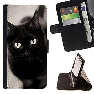 Stuss Case / Funda Carcasa PU de Cuero - Negro ojos de gato Bombay Chartreux - Sony Xperia Style T3