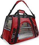 Paws & Pals Airline Approved Pet Carriers w/ Fleece Bed For Dog & Cat - Large, Soft Sided Kennel - 2016 Newly Designed Model, Crimson Red