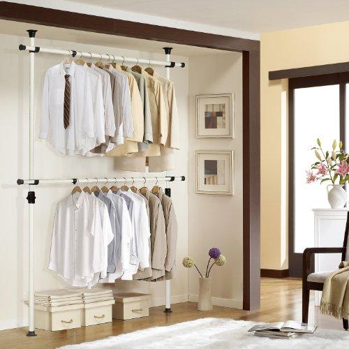 PRINCE HANGER | One Touch Double Adjustable Hanger | Holding 80kg(176LB) per horizontal bar | Heavy Duty | 38mm Vertical pole | Clothing Rack | Clothes Organizer | Garment Rack | PHUS-0023