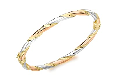 Jewelry & Watches 9ct 3 Colour Gold Wave Bangle New Precious Metal Without Stones