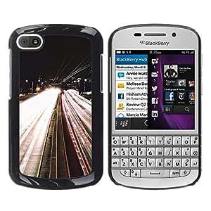 For BlackBerry Q10 Case , Road Lights Night Car Speeding By - Diseño Patrón Teléfono Caso Cubierta Case Bumper Duro Protección Case Cover Funda