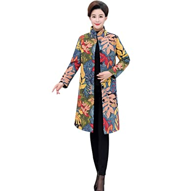 FNKDOR Manteau Femme d'hiver Chaud Veste en Lin Coton Chic