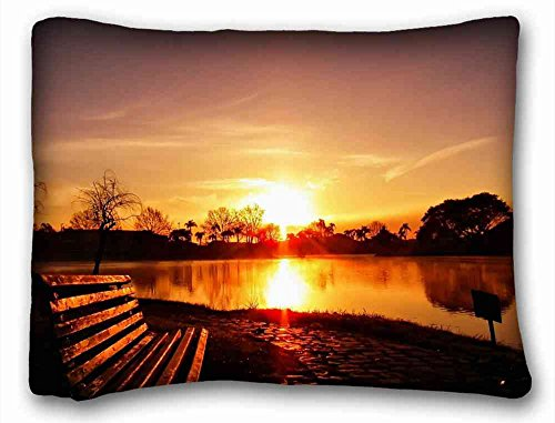 (Custom Cotton & Polyester Soft ( Nature Lake Sunset ) Standard Size Pillowcase for Hair & Facial Beauty Size 20x26 Inches suitable for X-Long Twin-bed PC-Bluish-55264)
