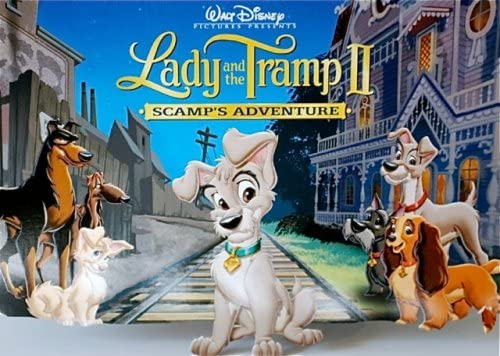 Disney Lady and the Tramp Family Movie Large Cotton Fabric Panel