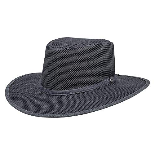 SOLAIR HATS Cabana by American Hat Makers Mesh Leather Hat, Steel - X-Large