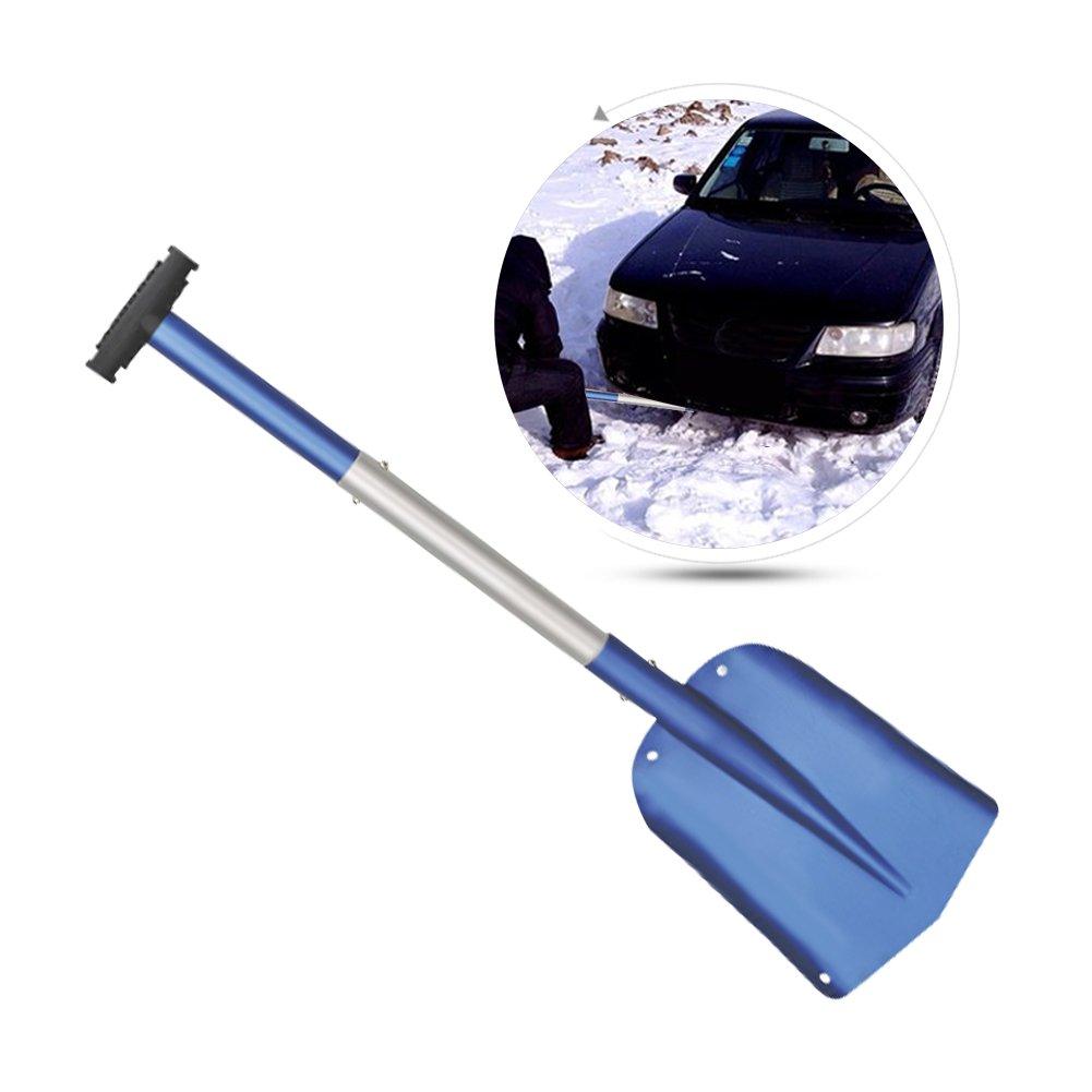 伸縮調節可能なポータブルキャンプ雪シャベルRetractable Lengthen Snow Removalショベル車アルミLarge雪シャベル削除ツールfor Car ブルー blue--net-123 B076JBLCL7 ブルー ブルー