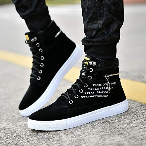 Fashion Men Oxfords Casual Flat Round Head High Top Sports Shoes Sneakers Shoes