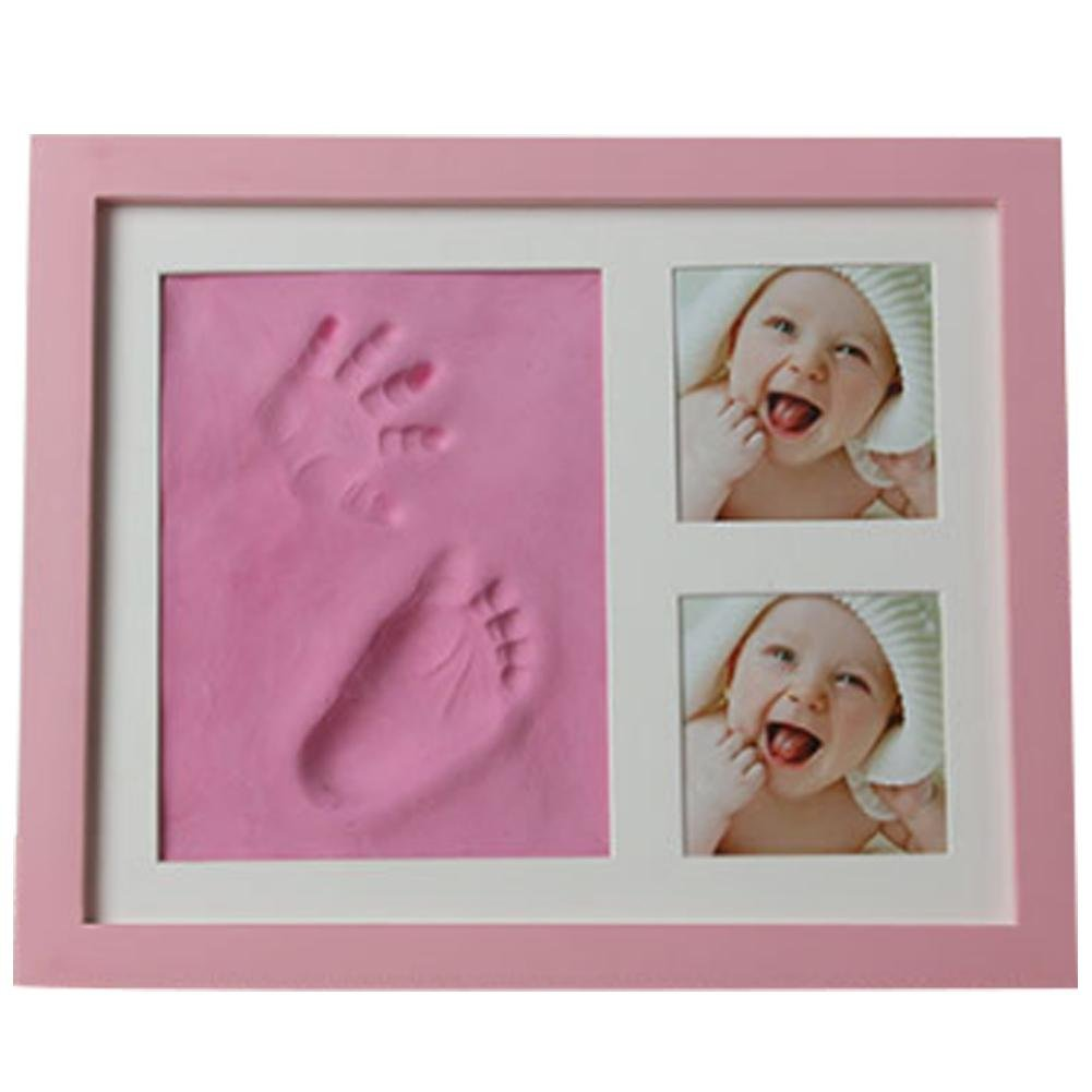 Baby's Hands and Feet Mold Hand & Footprint Makers High-Grade Solid Wooden Photo Frame with Cover Fingerprint Mud Set