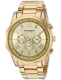 Akribos XXIV Men's Swiss Quartz Stainless Steel Automatic Watch, Gold-Toned (Model: AK940YG)