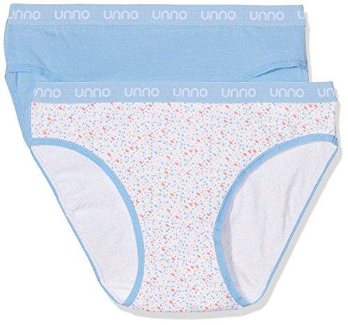 UNNO Auum304, Braga de Algodón Elástico Para Mujer, Pack de 2 Azul Claro/Confetti Azul