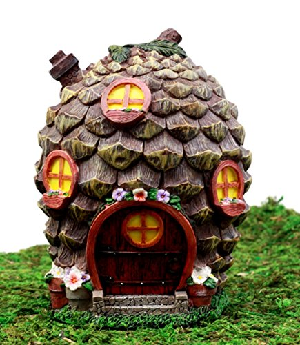 Ebros Gift Enchanted Fairy Garden Miniature Halloween Cozy Pinecone Cottage House Figurine 6.25