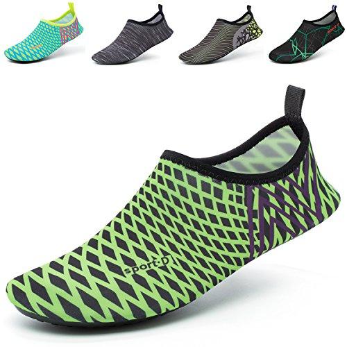 CASMAG Männer Frauen Quick-Dry Wasser Schuhe Barfüßig Aqua Socken Für Yoga Strand Schwimmen Pool Übung Surf Schwarz Grün