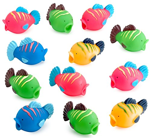 - Kicko Vinyl Fish Squirts - Pack of 12 - 2.25 Inches Assorted Colors Tropical Fish Water Toys - Bath Time Fun - for Kids Boys and Girls Party Favors, Fun Gift, Prize, Piñata Fillers