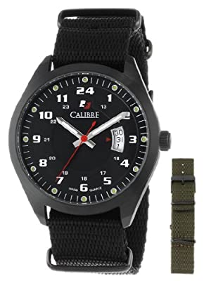 Calibre Men's SC-4T1-13-007SC Trooper Black Ion-Plated Coated Stainless Steel Interchangeable Black/Green Canvas Straps Watch Set by Calibre