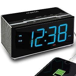 iTOMA Electronic Alarm Clock Radio-Bluetooth Stereo Speakers,FM Radio,Dual Alarm,Snooze,Brightness Dimmer,USB Charging Port,Backup Battery(CKS3501BT)