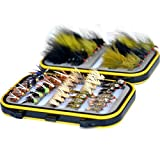 Outdoor Planet Double Side Waterproof Pocketed Fly Box + Assorted Trout Fly Fishing Lure Pack of 48 Fly Lure