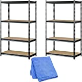 Muscle Rack UR361860PB4P-SV Silver Vein Steel Storage Rack, 4 Adjustable Shelves, 3200 lb. Capacity, 60'' Height x 36'' Width x 18'' Depth, 2-Pack with Dusting Cloth