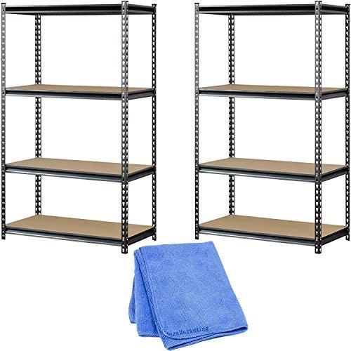 Muscle Rack UR361860PB4P-SV Silver Vein Steel Storage Rack, 4 Adjustable Shelves, 3200 lb. Capacity, 60'' Height x 36'' Width x 18'' Depth, 2-Pack with Dusting Cloth by Muscle Rack