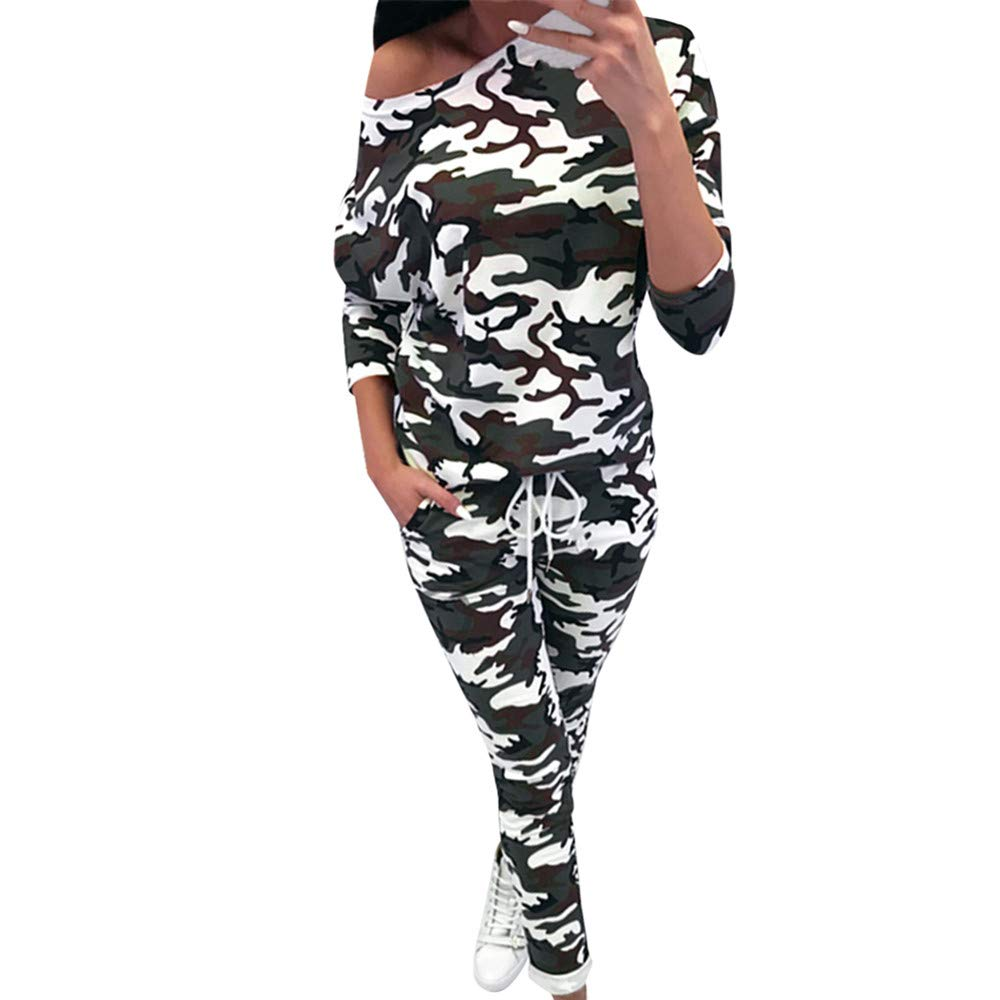 Women's 2 Piece Outfits Star Print Long Sleeve Sweatshirt and Pants Sweatsuits Set Cotton Tracksuits (Camouflage, L) by EINCcm