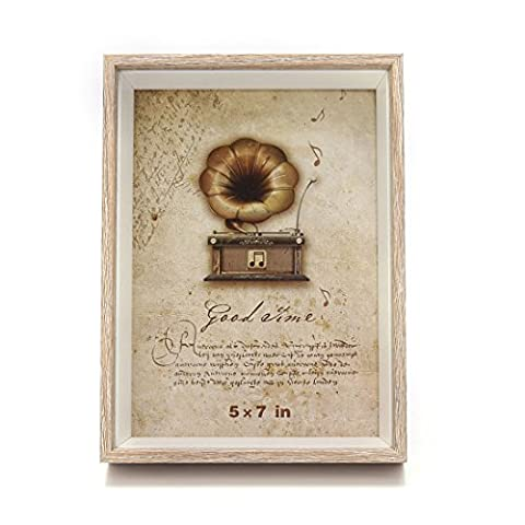 5x7-inch Wooden Picture Frame Shadow Box with Glass Front,for Desktop and Wall Hanging (5x7 Darker Wood Color)