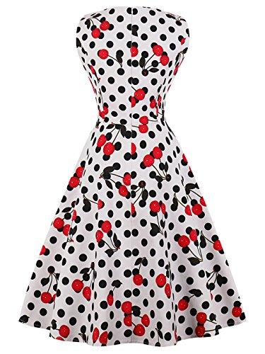 1950S Puntos Vintage de DRT072 3XL Vestido Lunares Rockabilly Baile Blanco FAIRY Cereza COUPLE wHOx55