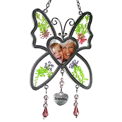 BANBERRY DESIGNS Grandma Photo Butterfly Suncatcher - Pressed Flowers with a Heart Shaped Picture Opening- Grandma Gifts