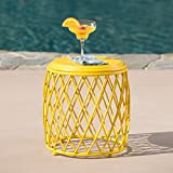 Alameda Outdoor 15 Inch Lattice Iron Side Table (Matte Yellow)