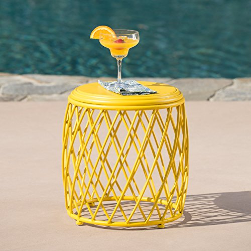 Alameda Outdoor 15 Inch Lattice Iron Side Table (Matte Yellow) by GDF Studio