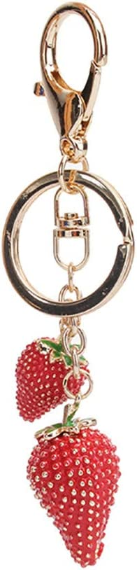 Garispace Red Strawberry Keychains Lovely Fruit Key Ring Chain Key Holder Strawberry Bag Charms Purse Decorative Pendant Keyfob