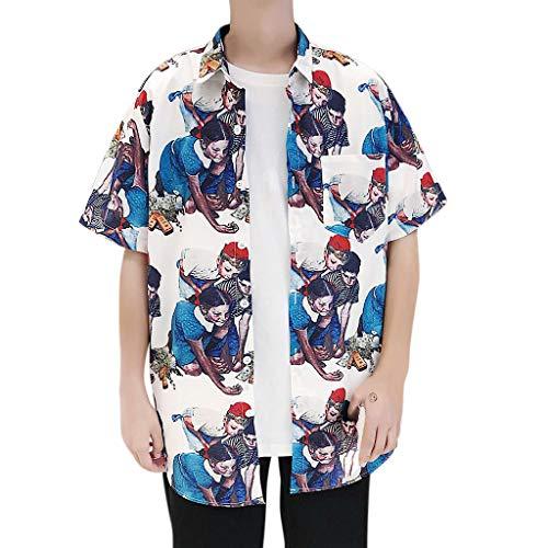 KLGDA Fashion Couple Personalized Print Shirt, Womens and Men Beach Tops Blouse White