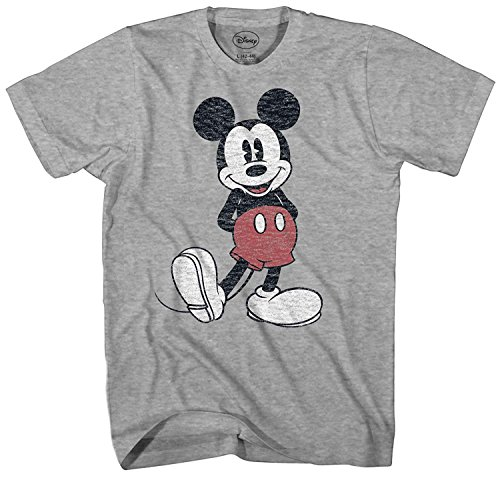 Disney Men's Full Size Mickey Mouse Distressed Look T-Shirt, Heather Grey, Large ()