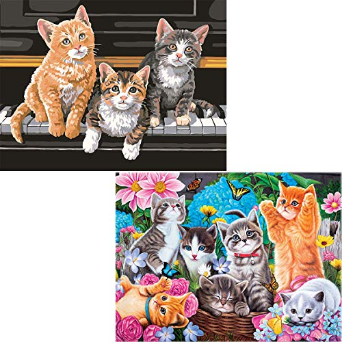 Ginfonr 5D DIY Diamond Painting Kit Piano Cats & Garden Kittens for Adults Full Drill by Number Kits, Pet Paint with Diamonds Art Kitten Puppy Animal Rhinestone Cross Stitch Craft Decor (12x16 inch, 2 (Cat Piano)