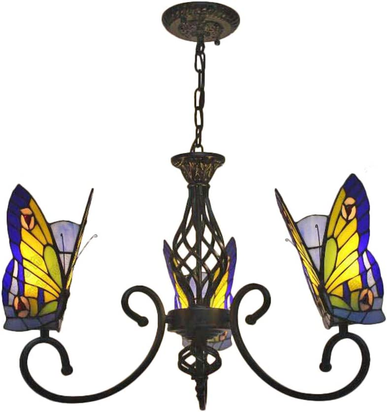 BAYCHEER Tiffany Style Stained Glass Butterfly Chandelier Decorative Hanging Lamp Pendant Lighting Adjustable Ceiling Fixture with Wrought Iron Black Arms 3 Lights for Living Room Dinning Room Kitchen