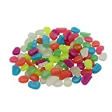 (US) 100Pcs(Mixed color) Luminous Cobblestones Glow Pebbles Stones Glow in the Dark for Stones Aquarium Fish Tank Garden Decorations