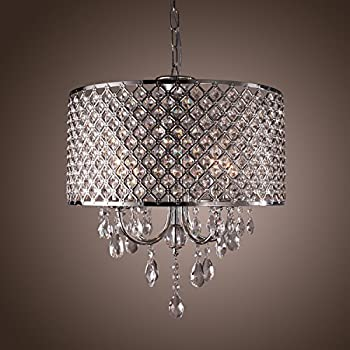 LightInTheBox Modern Chandeliers With 4 Lights Pendant Light With Crystal  Drops In Round, Ceiling Light Part 71