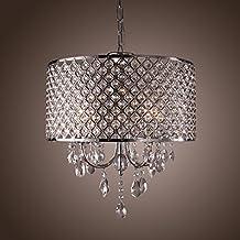 LightInTheBox Drum Chandelier Crystal Modern 4 Lights, Modern Home Ceiling Light Fixture Flush Mount, Pendant Light Chandeliers Lighting